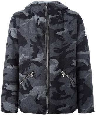 Moncler camouflage print hooded jacket
