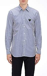 Comme des Garcons Men's Heart Patch Striped Shirt - Stripe
