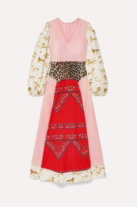 Ganni Paneled Printed Cotton-poplin Maxi Dress - Pink