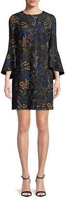 Calvin Klein Dramatic Bell Sleeve Ditsy Floral Print Sheath Dress
