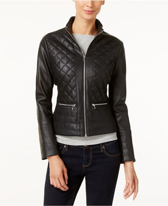 Kenneth Cole Faux-Leather Quilted Bomber Jacket $150 thestylecure.com