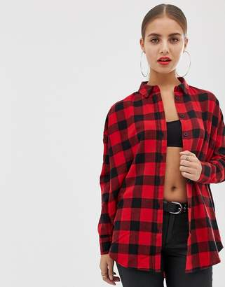Asos Design DESIGN long sleeve boyfriend shirt in red and black check