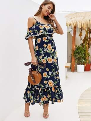 Shein Floral Print Cold-shoulder Pom Pom Detail Cami Dress