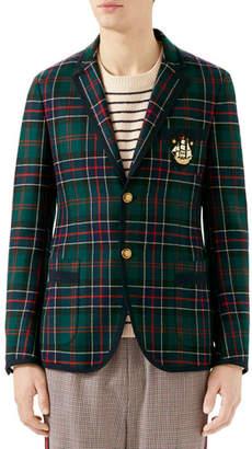 Gucci Men's Tartan Taped Two-Button Blazer