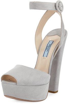 Prada Suede Platform Sandal, Nude $790 thestylecure.com
