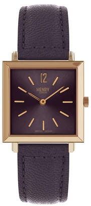 Henry London Heritage Square Rose Gold Stainless Steel Case Purple Dial and Purple Leather Strap