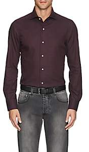 Isaia Men's Floral Brushed Cotton Twill Shirt - Wine