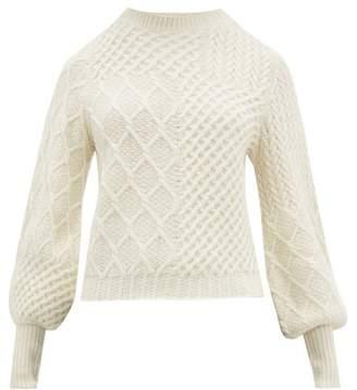 Frame Balloon Sleeve Aran Knit Wool Blend Sweater - Womens - Ivory