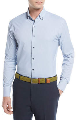 Peter Millar Crown Sport Gus Mini-Houndstooth Performance Sport Shirt, Blue