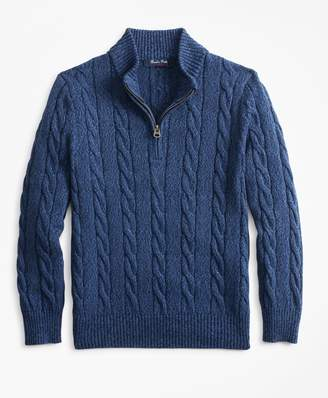 Brooks Brothers Boys Cotton Half-Zip Cable Sweater