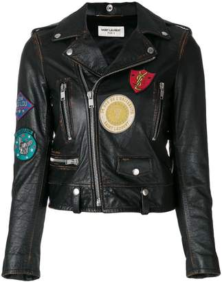 Saint Laurent patch embroidered leather jacket