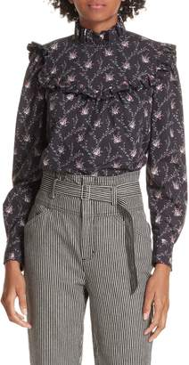 Rebecca Taylor Ruffle Trim Back Button Blouse