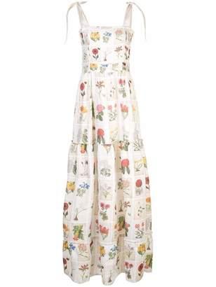 Agua Bendita Agua By Herbarium Tie Strap Floral Grid Print Maxi Dress