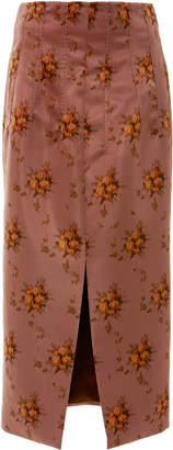 Brock Collection Sorrel Floral-Print Satin Midi Skirt