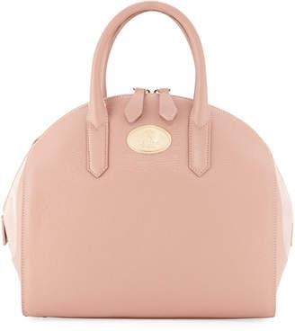 Roberto Cavalli Suede-Detail Leather Satchel Bag, Nude