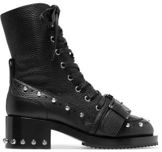 No.21 No. 21 - Studded Textured-leather Biker Boots - Black