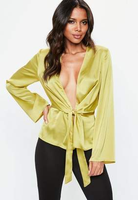 Missguided Satin Drape Plunge Blouse