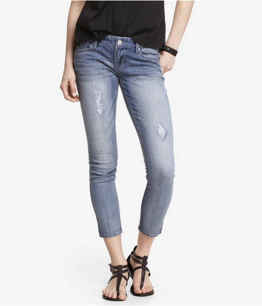 Express Low Rise Destroyed Ankle Jean Legging