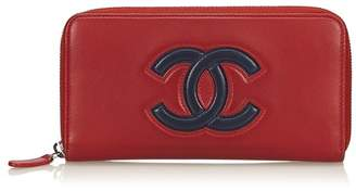 Chanel Vintage Cc Leather Long Wallet