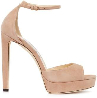 Jimmy Choo Pattie Blush Suede Sandals