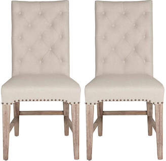 One Kings Lane Set of 2 Louis Tufted Side Chairs - Flax