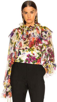 Dolce & Gabbana Fiorellini Print Chiffon Ruffle Neck Blouse