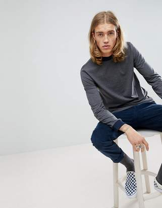 Asos DESIGN long sleeve t-shirt with chunky rib in gray