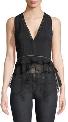 Jonathan Simkhai Deep V Sleeveless Silk Lace Tank