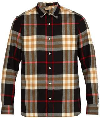 Burberry Richard Checked Cotton Flannel Shirt - Mens - Black Multi
