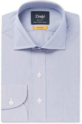 Drakes Drake's - Blue Easyday Cutaway-Collar Striped Cotton Shirt - Blue