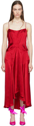 Carven Red Viscose Slip Dress