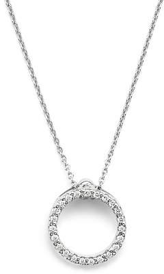 Roberto Coin 18K White Gold and Diamond Extra Small Circle Necklace, 16""