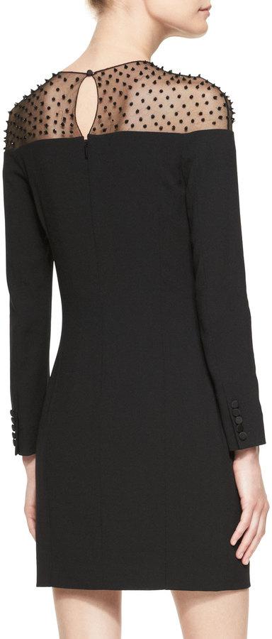 Saint Laurent Long-Sleeve Embellished-Yoke Minidress