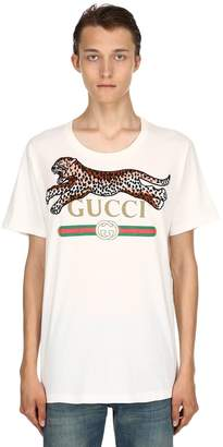 Gucci Leopard & Logo Cotton Jersey T-Shirt