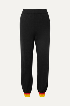 Opening Ceremony Striped Cotton-jersey Track Pants - Black
