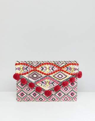 New Look Bright PomPom Clutch Bag