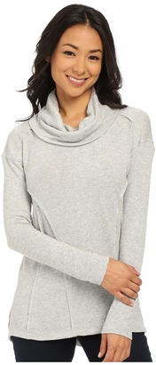 Mod-o-doc Luxe Heather Sweater Knit Long Sleeve Drape Cowl Neck Pullover $98 thestylecure.com