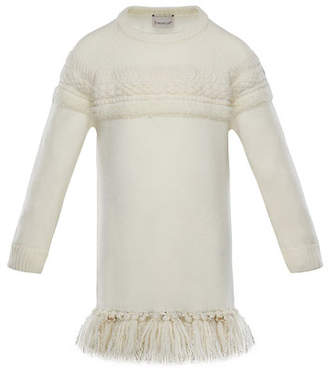 Moncler Mixed-Knit Sweater Dress w/ Metallic Tassel Hem, Size 4-6