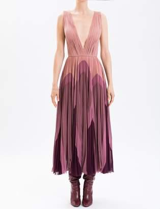 J. Mendel Lavender Hand-Pleated Silk Chiffon Cocktail Dress