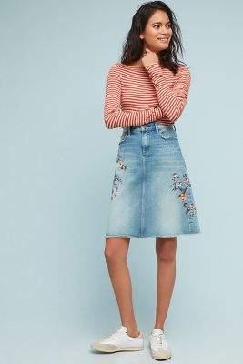 Anthropologie Driftwood Embroidered Denim Skirt