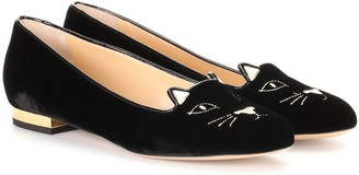 Charlotte Olympia Kitty Flat velvet loafers
