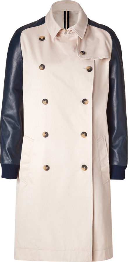 Sophie Hulme Tan Cotton Coat with Navy Leather Sleeves