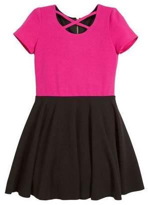 Zoe Crisscross Two-Tone Crepe Knit Skater Dress, Size 7-16