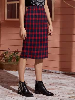 Shein Tartan Plaid Slit Back Straight Skirt