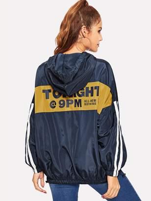 838b4f1252 Shein Striped Sleeve Cut-and-sew Hoodie Jacket
