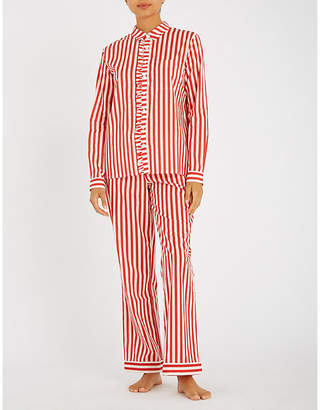 Yolke Striped cotton pyjama set