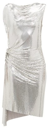 Paco Rabanne Gathered Chainmail Dress - Womens - Silver