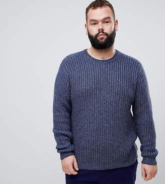 Asos Design DESIGN Plus heavyweight fisherman rib sweater in navy