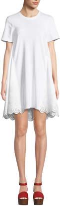 McQ Ruffle Hybrid Eyelet Tee Dress