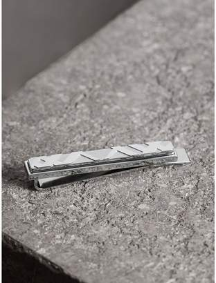 Burberry Check-engraved Tie Bar, Grey